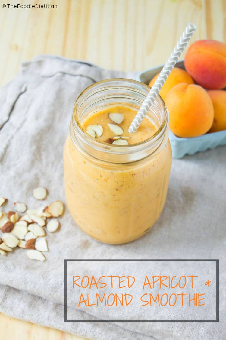 A smoothie that's sure to quench your thirst (and hunger!), this roasted apricot almond smoothie is sweet, nutty, and refreshing, and will be making a regular appearance in my kitchen this summer. | @TheFoodieDietitian