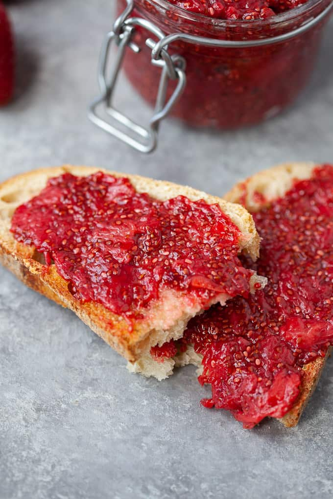 Strawberry chia jam spread on toast