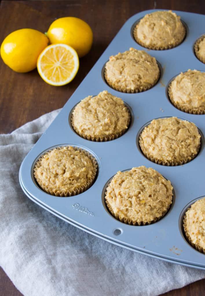 Whole Wheat Meyer Lemon Ricotta Muffins | @TheFoodieDietitian