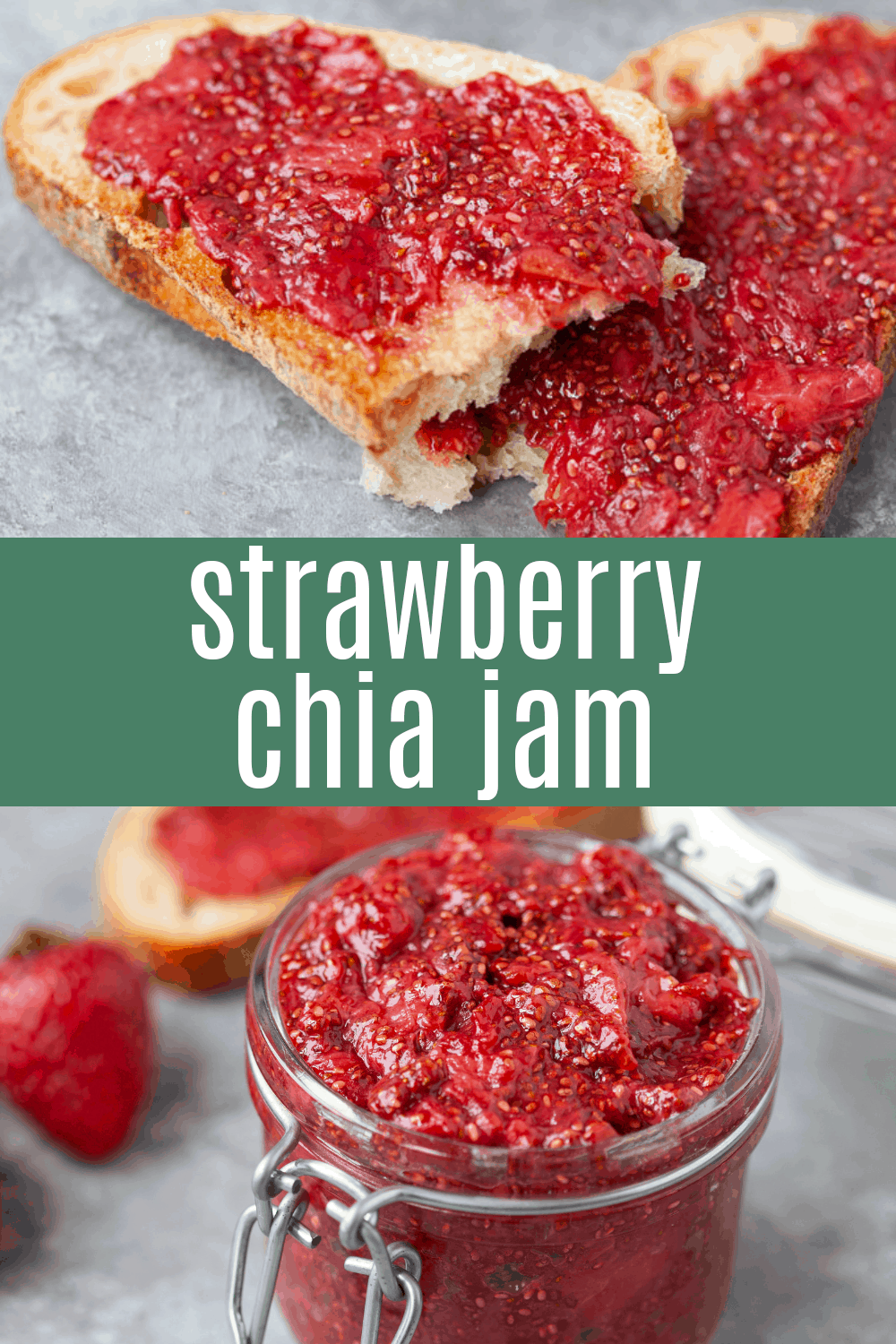 collage photos of strawberry chia jam spread on toast