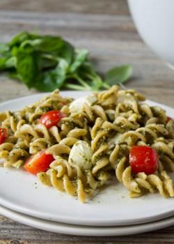 Caprese Hemp Pesto Pasta Salad | karalydon.com