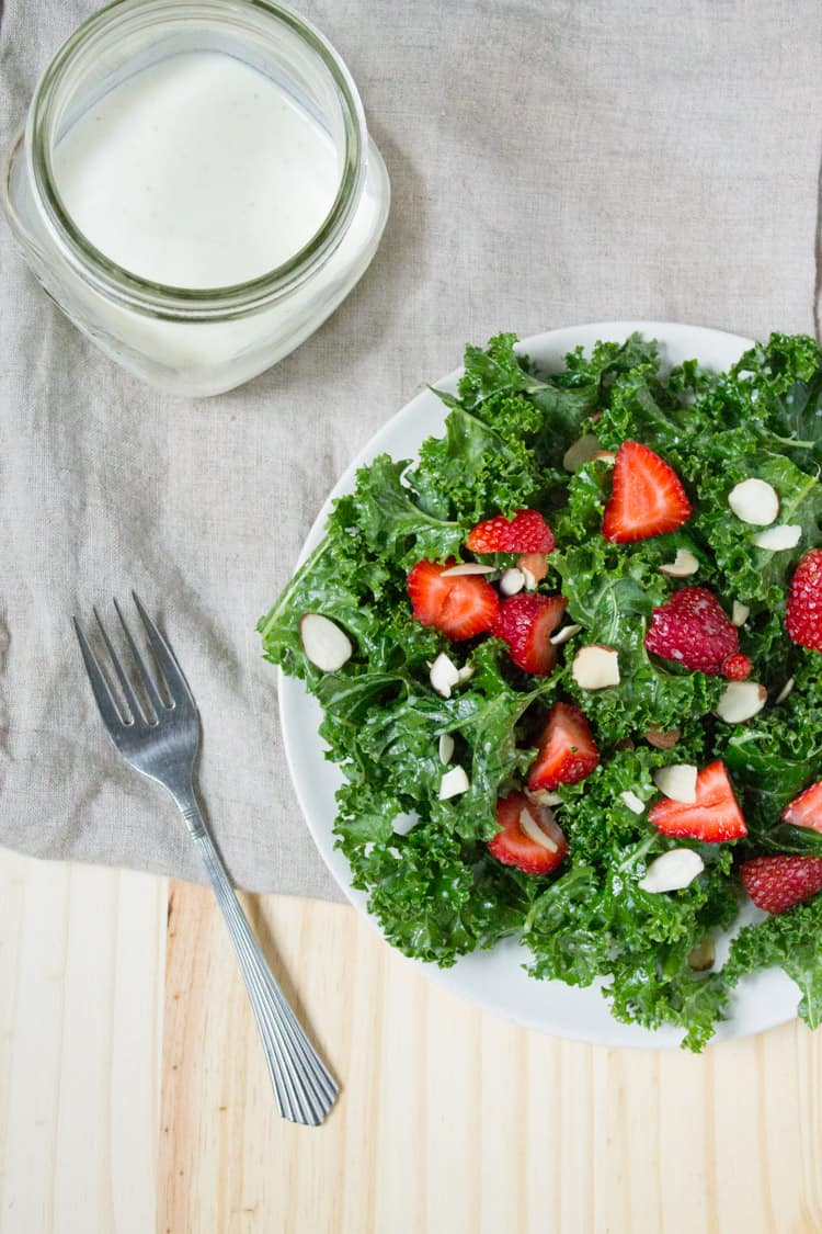 Kale and Strawberry Salad with Kefir Dressing 250-10