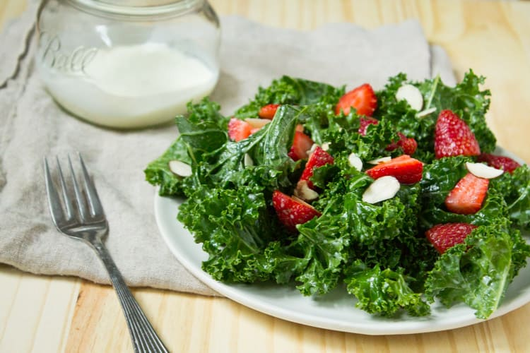 Kale and Strawberry Salad with Kefir Buttermilk Dressing
