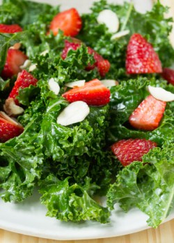 Kale and Strawberry Salad with Kefir Dressing