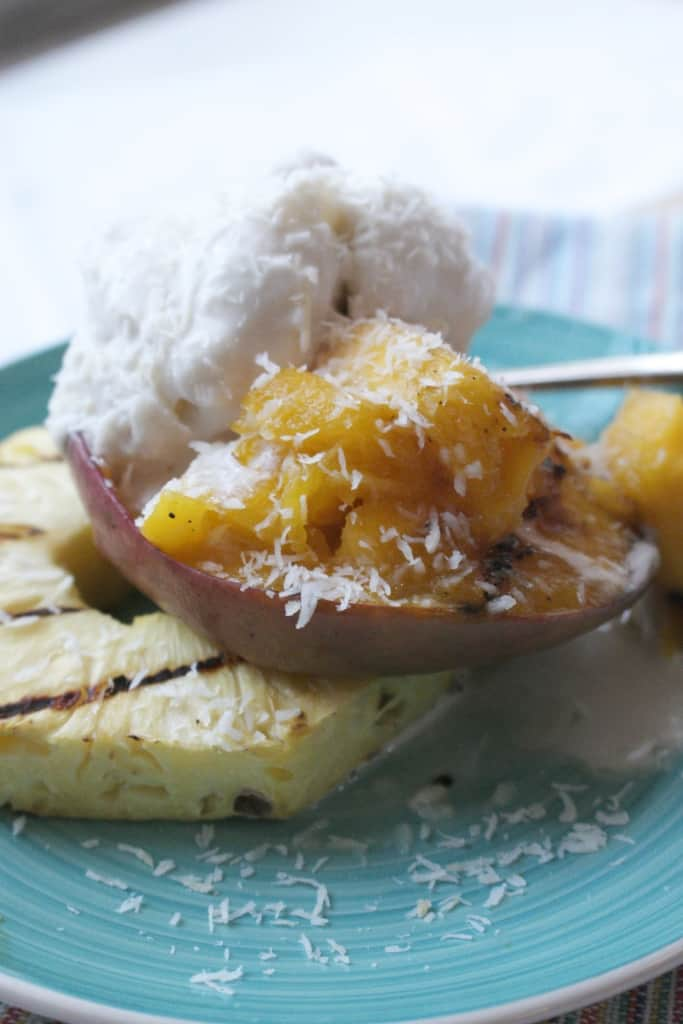 Grilled Fruit with Coconut Sorbet via @NourishRDs | karalydon.com/blog @karalydon