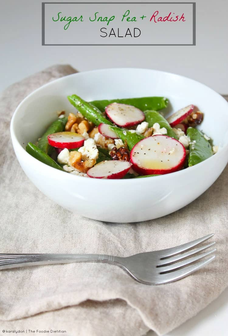 Fresh from the garden! Or more like the CSA...with only 4 ingredients, this sugar snap pea and radish salad is a simple, delicious way to use up your summer seasonal veggies!   @karalydon karalydon.com/blog