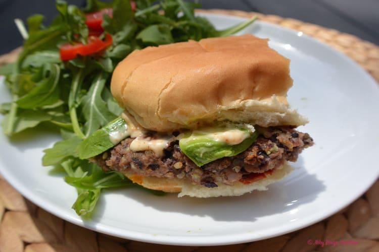 Black Bean Quinoa Burgers via Abby Langer | karalydon.com/blog @karalydon