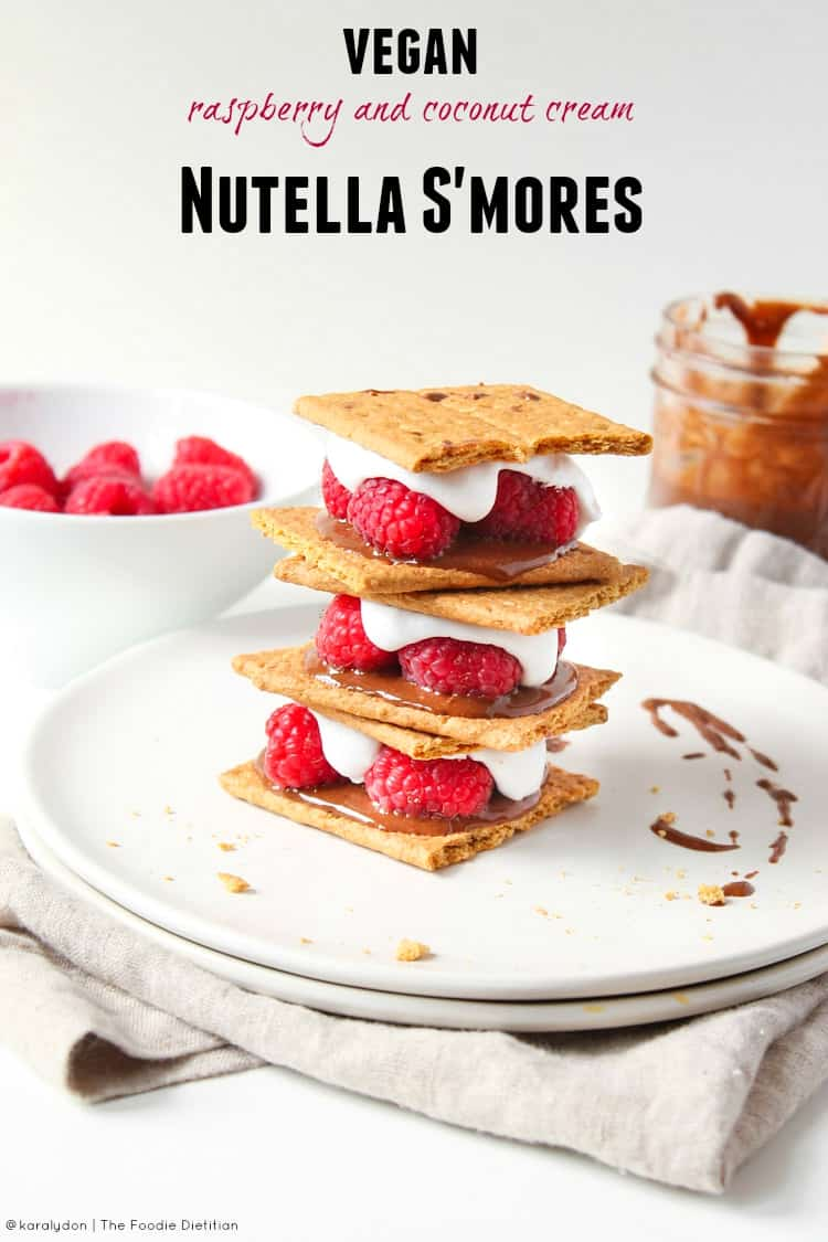 S'mores reinvented. These s'mores are vegan, all natural, and require no campfire. Vegan raspberry and coconut cream Nutella s'mores are FREAKING DELICIOUS. | @karalydon karalydon.com/blog