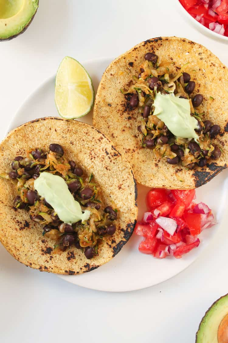 Zucchini Black Bean Tacos with Avocado Crema-2-2