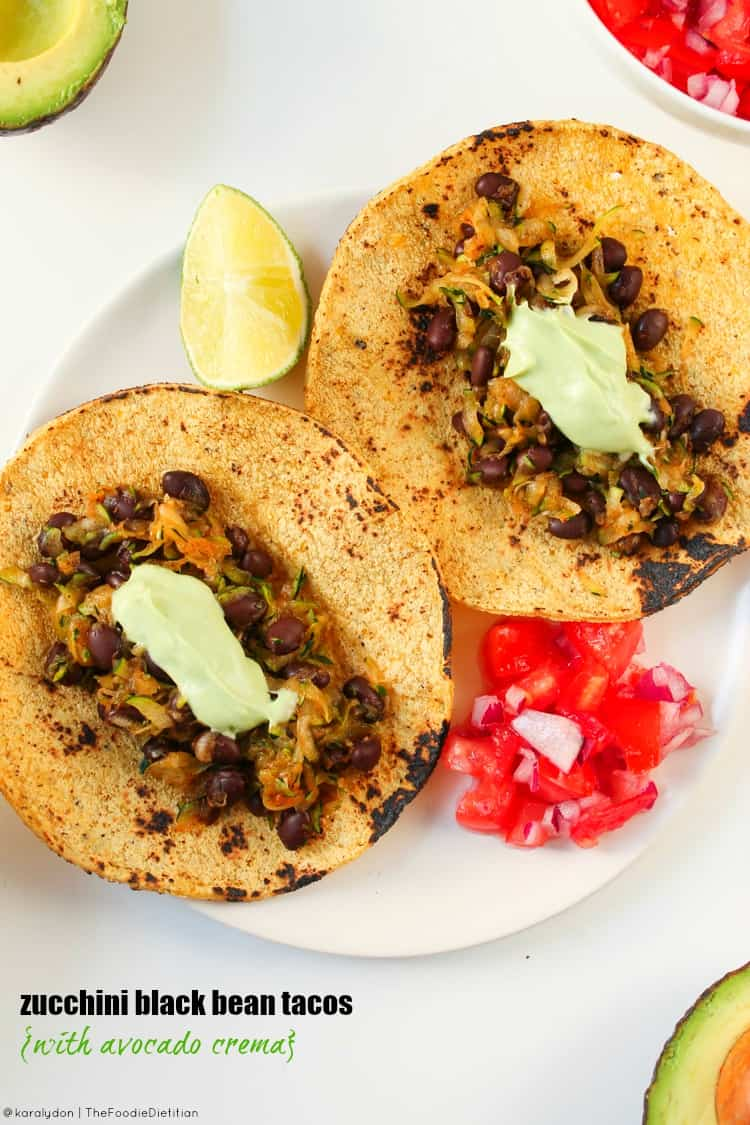 Zucchini black bean tacos are a quick and easy weeknight meal and a great way to use up the summer surplus of zucchini!