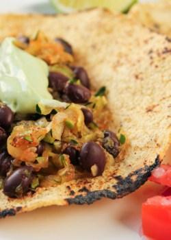 Zucchini Black Bean Tacos with Avocado Crema