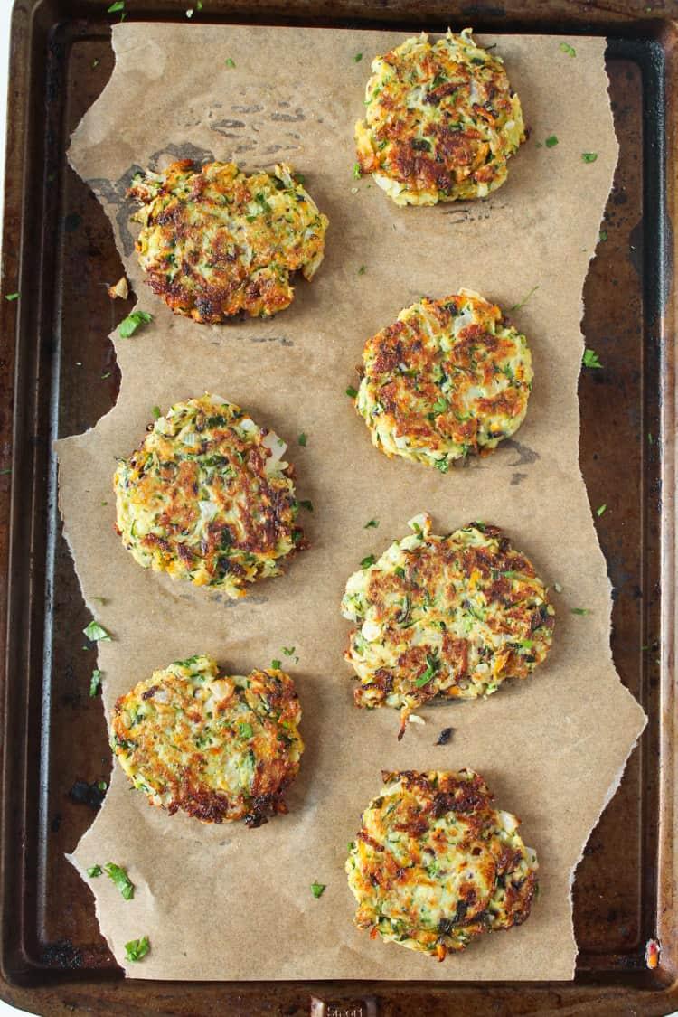 Zucchini Kohlrabi Spring Onion Fritters | @karalydon
