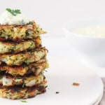 Zucchini Kohlrabi Carrot Fritters with Herb Yogurt Sauce