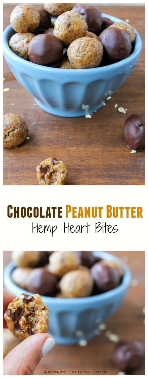 These Chocolate Peanut Butter Hemp Heart Bites taste like chocolate chip peanut butter cookie dough but are wayyyy better for you. Your back-to-school snack prayers have been answered.