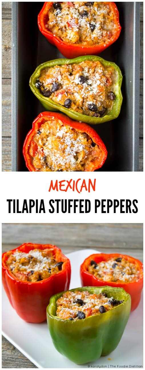 Kara lydon mexican stuffed tilapia peppers the foodie dietitian pescetarian friendly mexican stuffed tilapia peppers are a great back to the dinner table forumfinder Gallery