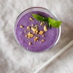 Blueberry Basil Cheesecake Smoothie - dessert in a glass!