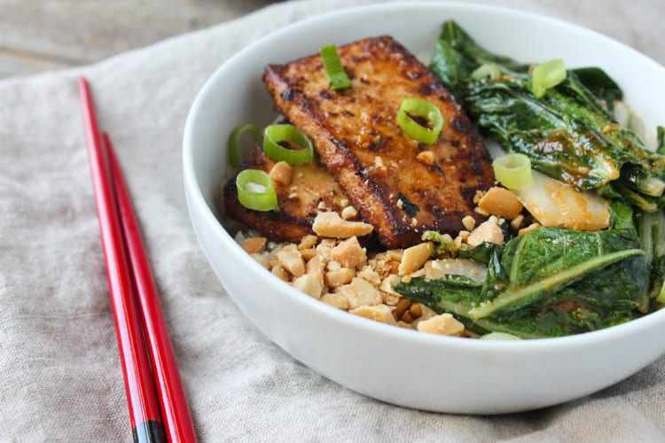 Spicy Peanut Tofu and Bok Choy Rice Bowl-1-2