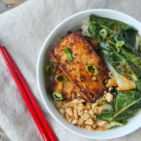 Peanut Tofu and Bok Choy Rice Bow