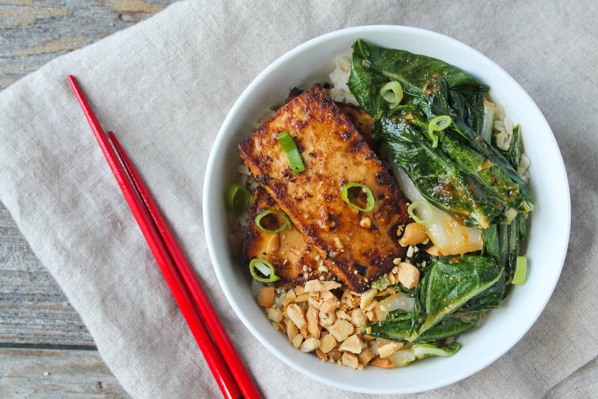 Peanut Tofu and Bok Choy Rice Bow