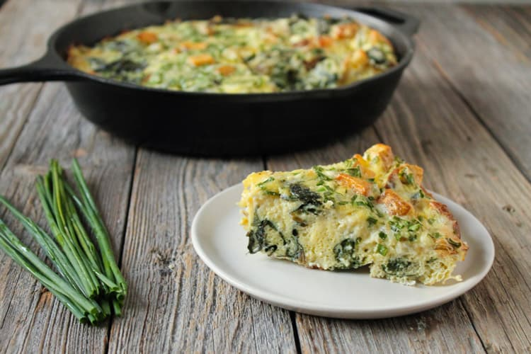 Potato Chive Frittata with Swiss Chard