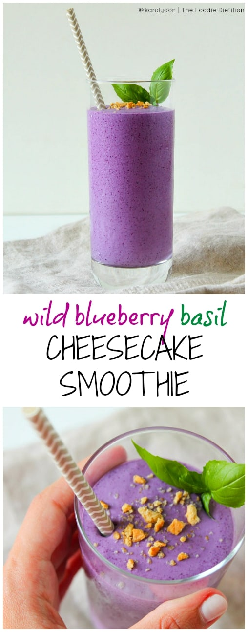 My award-winning Wild Blueberry Basil Cheesecake Smoothie tastes like dessert but (shhhh....) it's actually good for you! Packed with antioxidants, protein, and fiber, this smoothie takes just a few minutes to make. Breakfast never tasted better.