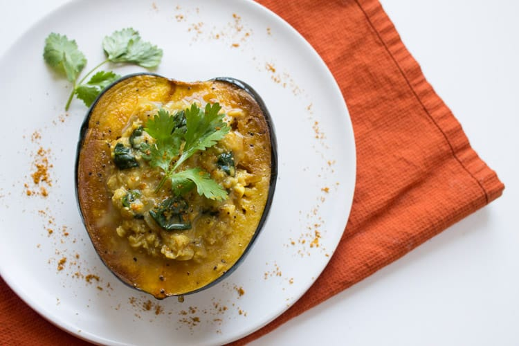 Acorn Squash with Indian Spiced Curried Lentils