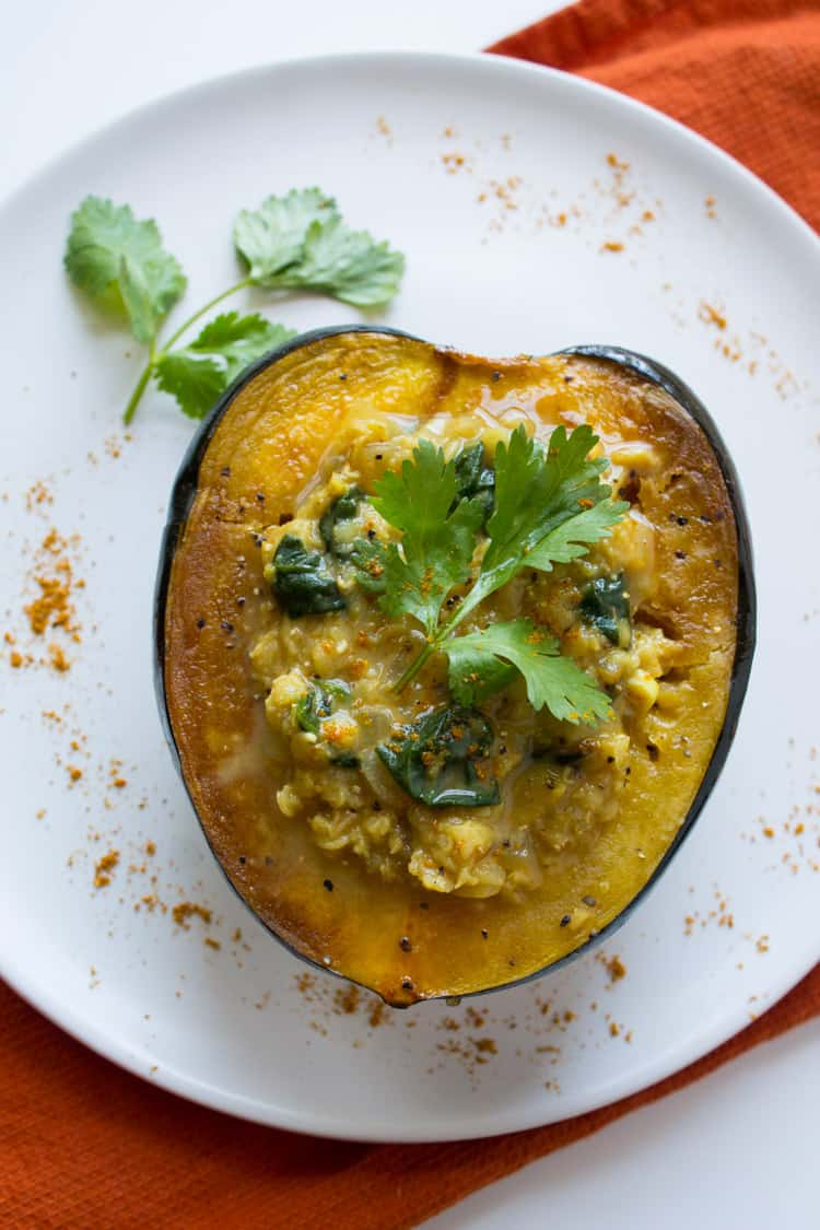 Acorn Squash with Curried Lentils