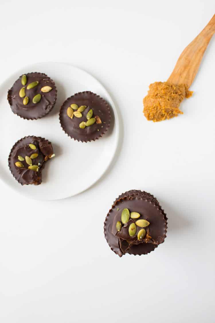 Dark Chocolate Pumpkin Almond Butter Cups