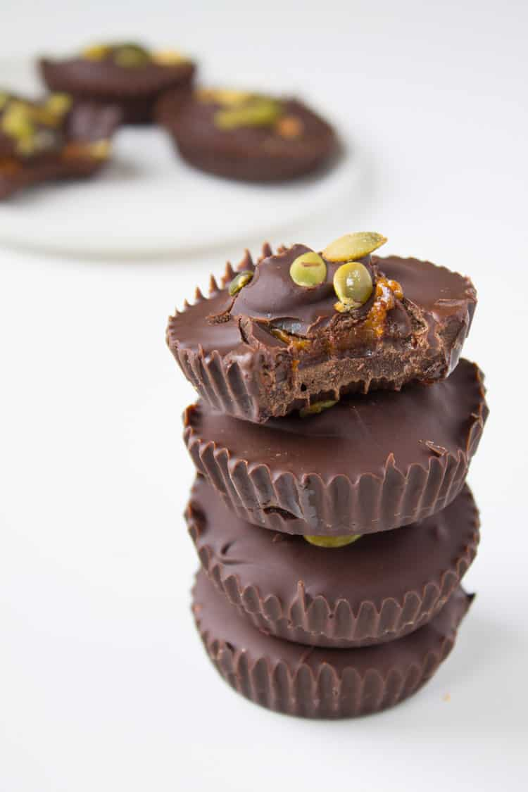 Dark Chocolate Maple Pumpkin Almond Butter Cups