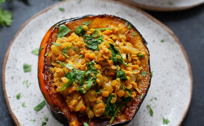 Stuffed Acorn Squash with Curried Lentils