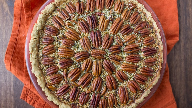 Healthier Hemp Pecan Pie (No Corn Syrup or Refined Sugars)
