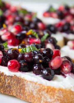 Wild Blueberry Pomegranate Bruschetta