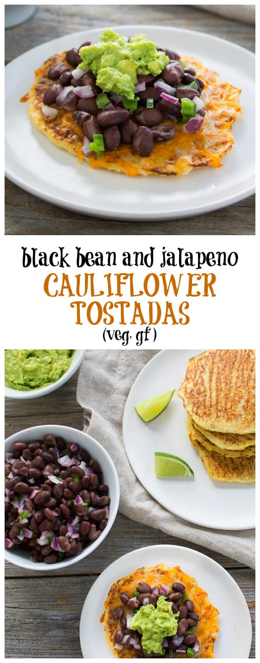 Gluten-free and delicious, black bean and jalapeno cauliflower tostadas are a healthier version of your favorite Mexican fast-food dish.