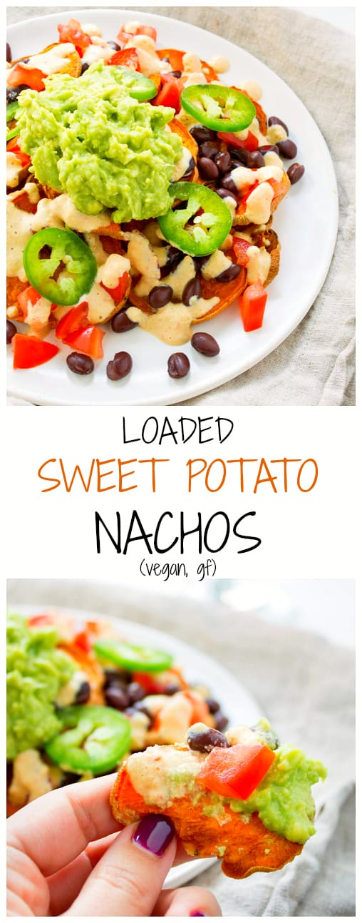 These vegan loaded sweet potato nachos are crispy, crunchy and topped with all the delicious fixings, including a cashew nacho cheese! Perfect for a game-day snack.