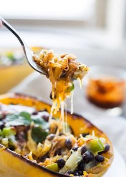 Vegetarian Enchilada Spaghetti Squash Boats