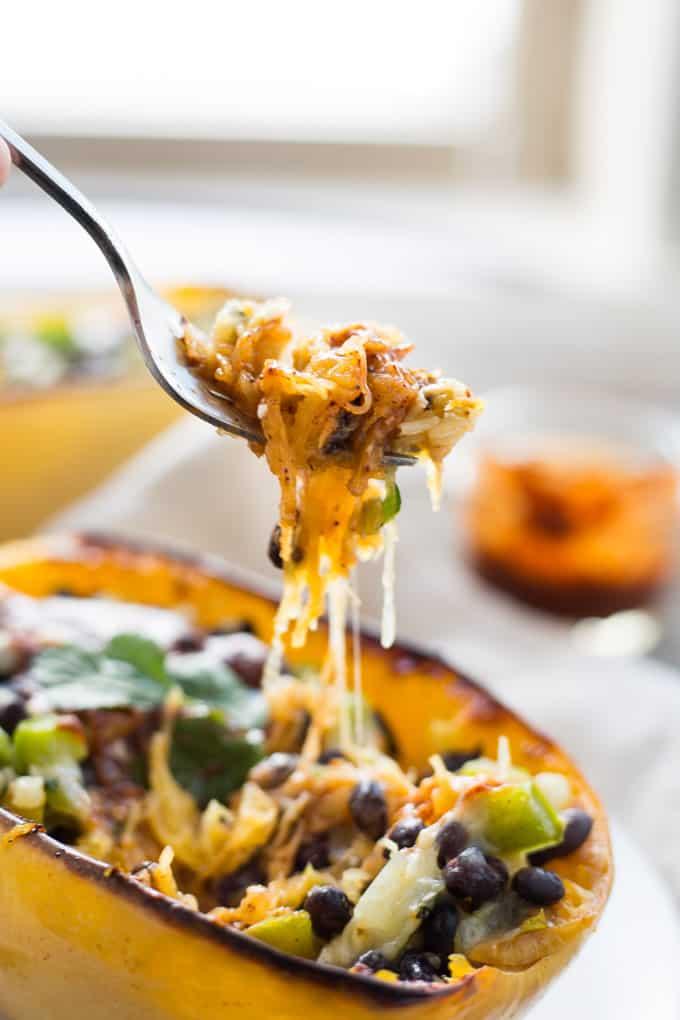 Vegetarian Enchilada Spaghetti Squash Boats-15