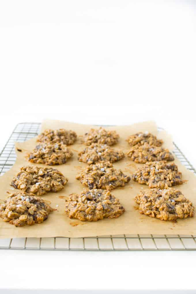 Vegan Peanut Butter Chocolate Oatmeal Cookies