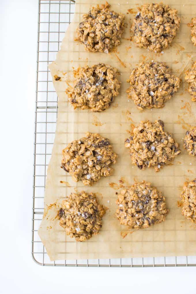 Vegan Peanut Butter Chocolate Chunk Oatmeal Cookies-8