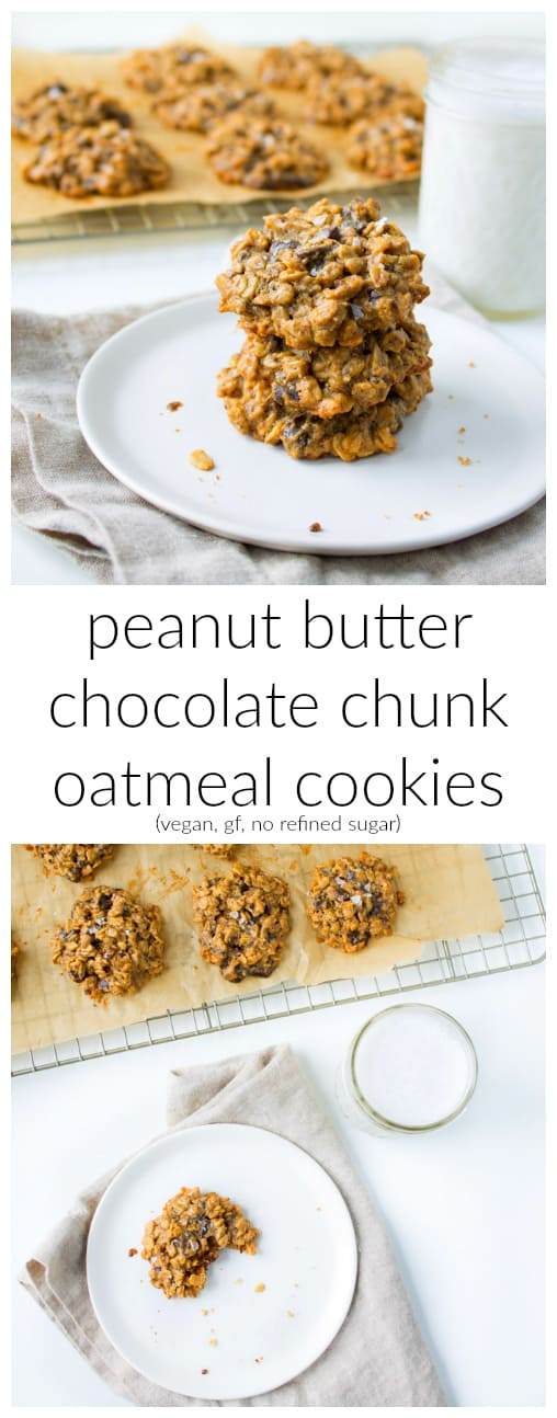 Because cookies are a sure way to anyone's heart. These vegan peanut butter chocolate chunk oatmeal cookies are gluten-free, free of refined sugar, and the perfect treat for your loved one (or yourself!) on Valentine's Day!