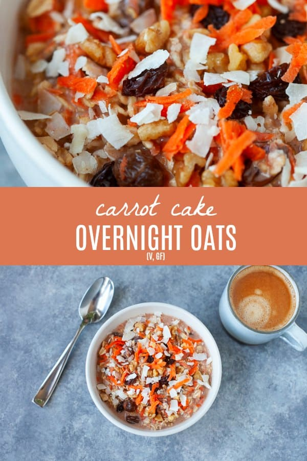 A fun, easy and festive breakfast for Easter morning (or any day of the year!). These carrot cake overnight oats are sweet, creamy and happen to be dairy-free! #overnightoats #carrotcake