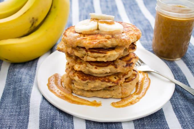 Peanut Butter Banana Kefir Pancakes