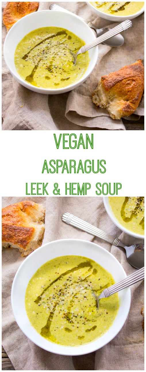 Garlicky green goodness just in time for St. Patrick's Day! This Vegan Asparagus Leek and Hemp Soup is super flavorful and made creamy using good ol' hummus.