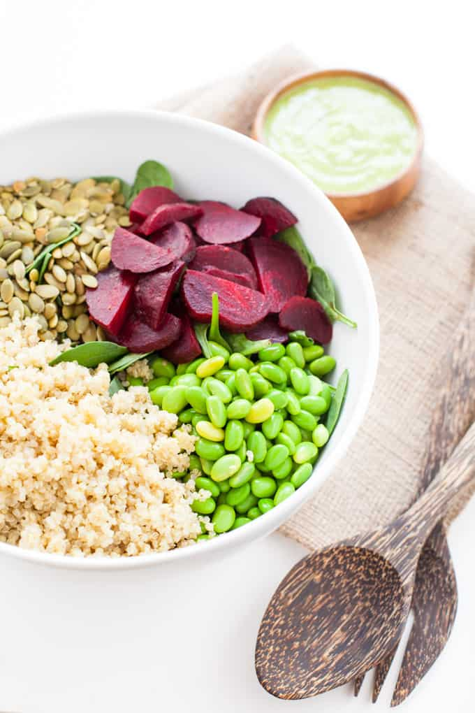 -Edamame & Spinach Quinoa Salad with Avocado Dressing found in Nourish Your Namaste e-book