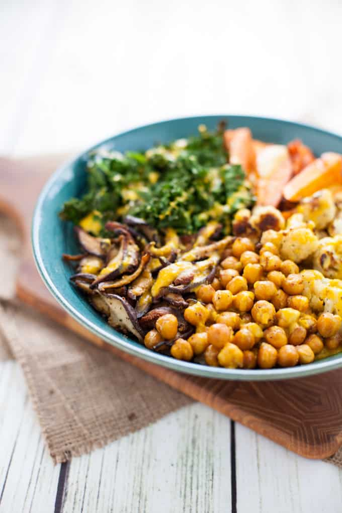 Immunity Boosting Buddha Bowl with Turmeric Tahini Dressing found in Nourish Your Namaste e-book