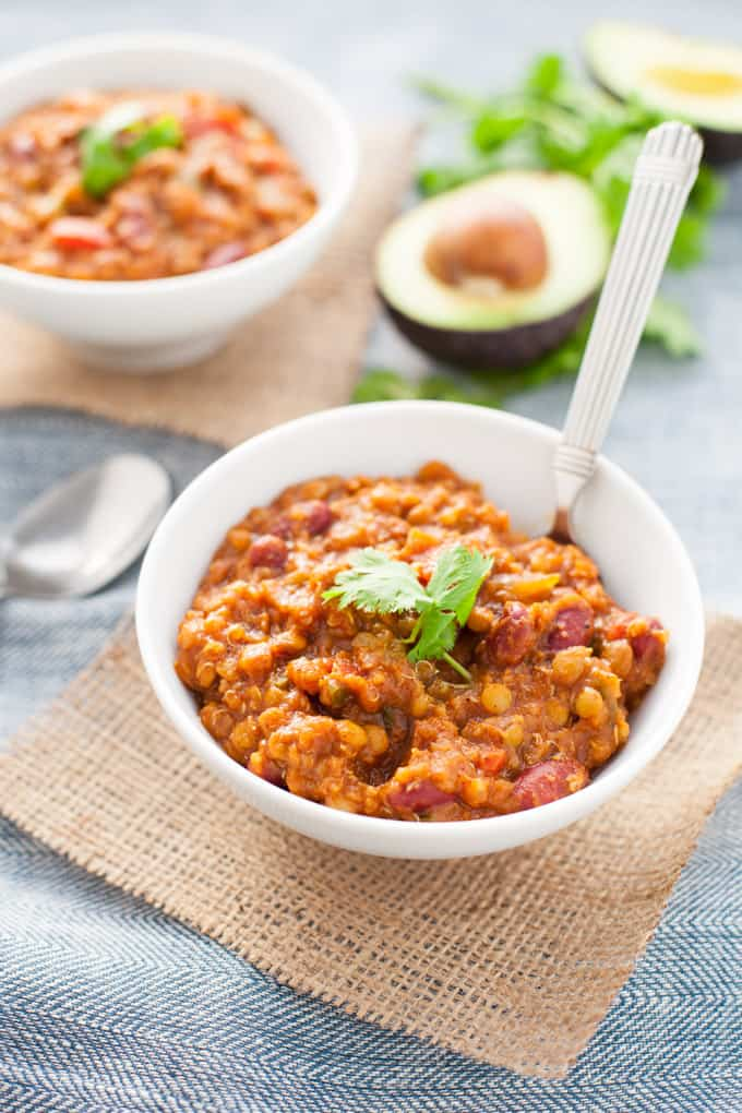 Pumpkin Lentil Quinoa Chili found in Nourish Your Namaste e-book