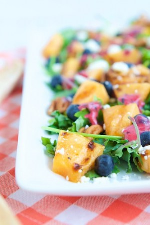 Make Healthy Easy's Grilled Cantaloupe Salad with Blueberry Ginger Vinaigrette
