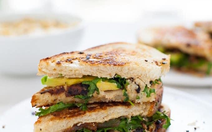 Grilled Cauliflower Hummus Sandwich