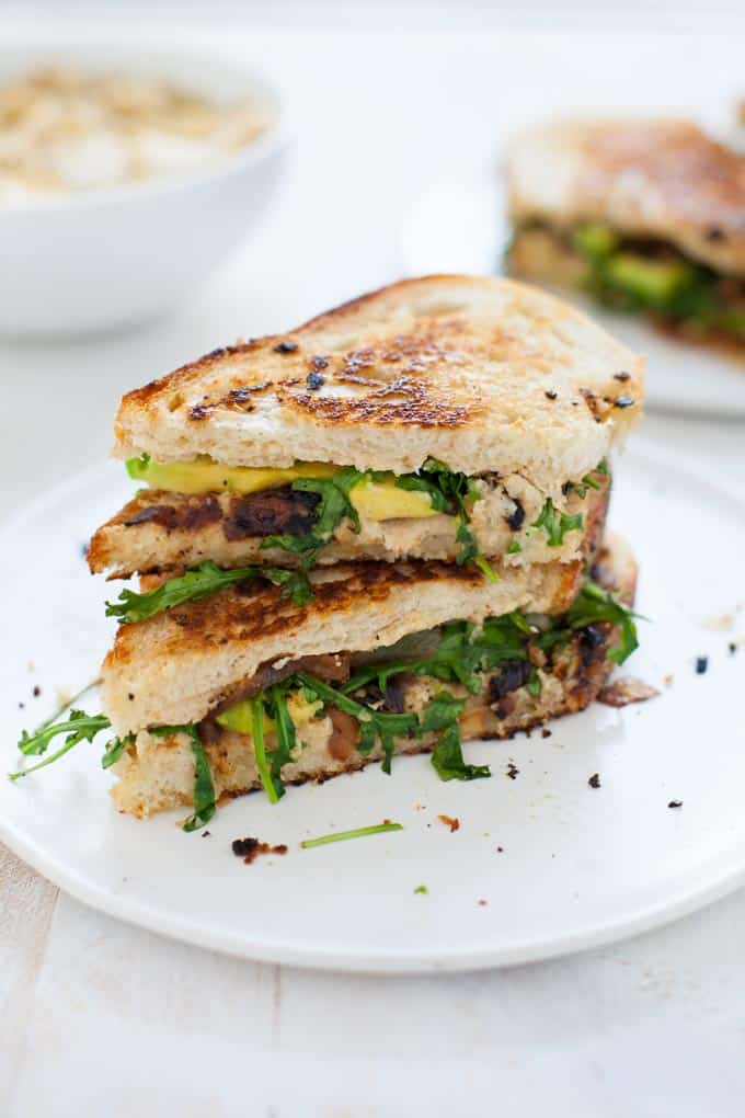 Grilled Vegan Cauliflower Hummus Sandwich