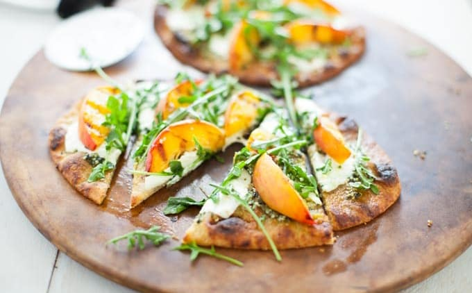 Grilled Hemp Pesto Peach Flatbread