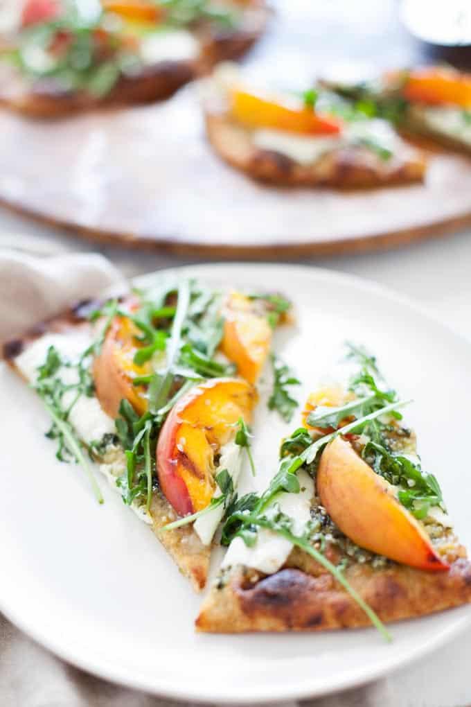Grilled Hemp Pesto Peach Flatbread